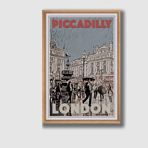 Framed Poster PICCADILLY CIRCUS - Retro Poster London