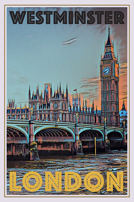 vintage poster of Westminster and Big Ben London UK