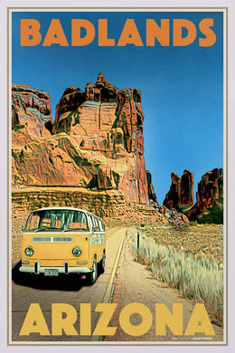 Vintage Poster Arizona Badlands Combi - Retro Poster VW Combi