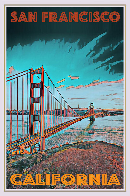 retro vintage poster of the golden gate bridge in San Francisco USA