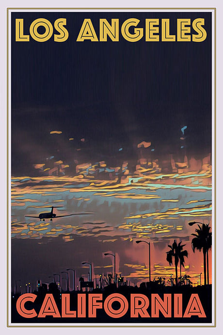 Vintage poster of a plane at sunset in Los Angeles, USA