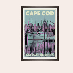 Framed poster of CAPE COD MASSACHUSETTS - Original Edition Retro Art Print