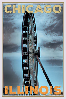 Vintage poster of CHICAGO BIG WHEEL - Buy poster online - affiche retro
