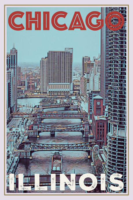 retro poster of Chicago illinois