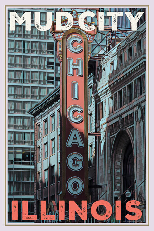 affiche rétro de Chicago illinois