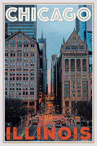 Affiche ancienne Perspective Chicago - Original Art Print Chicago USA