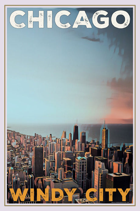 retro poster chicago wind city