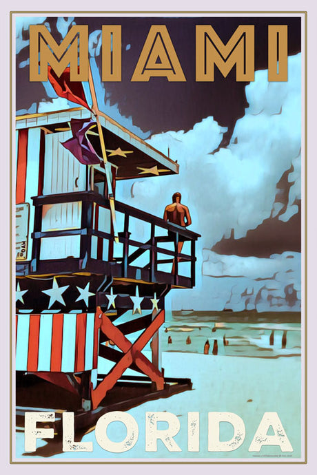 vintage poster of miami beach lifeguards florida - retro poster baywatch
