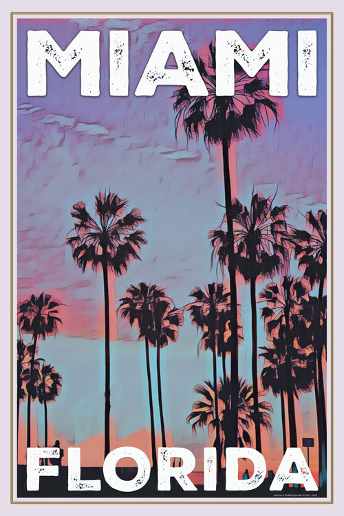 vintage poster palm trees miami florida retro poster