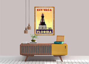Vintage Art Print Florida Key Vaca  - Retro poster Sombrero Key Light