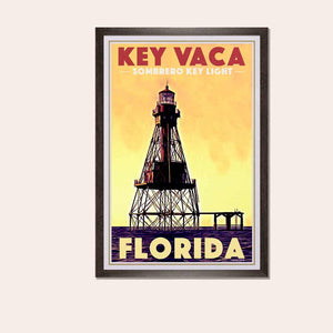 Vintage Poster Florida Key Vaca Lighthouse - Art Print Florida