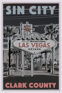 Vintage poster of WELCOME TO LAS VEGAS - affiche retro