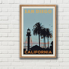 Load image into Gallery viewer, Vintage Travel Poster : LIGHTHOUSE SAN DIEGO - CALIFORNIA