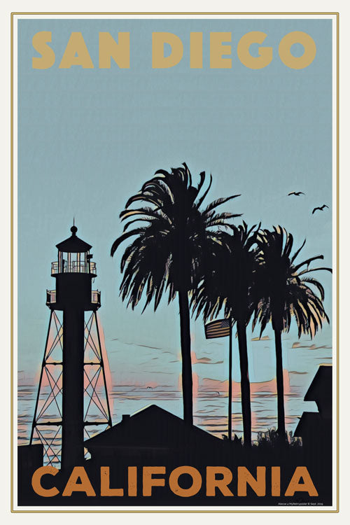 Vintage Travel Poster : LIGHTHOUSE SAN DIEGO - CALIFORNIA