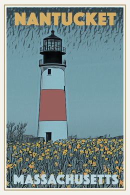 Retro poster - NANTUCKET LIGHTHOUSE - affiche vintage