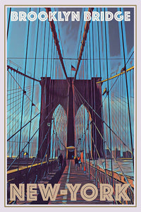 Vintage poster of Brooklyn bridge New York USA