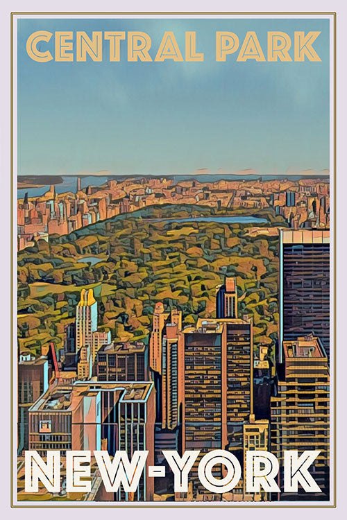 Affiche vintage de Central Park New-York USA