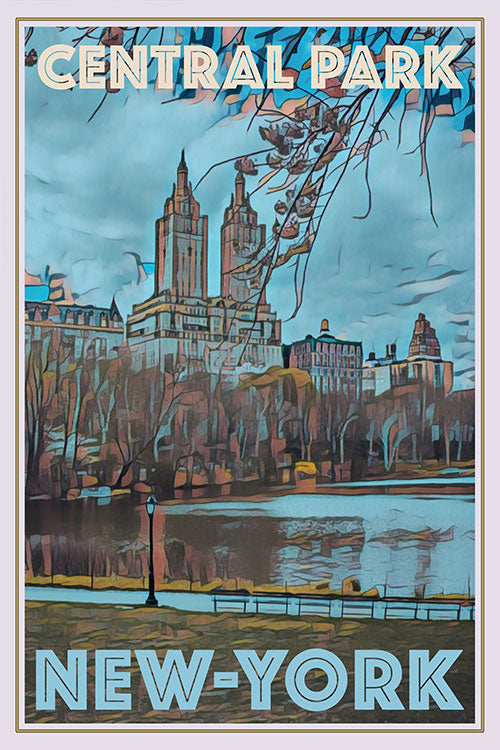 Vintage poster of Central Park New-York USA