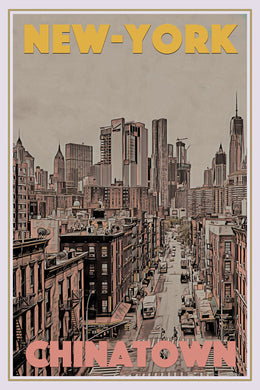Vintage travel Poster - CHINATOWN NEW-YORK - Affiche retro