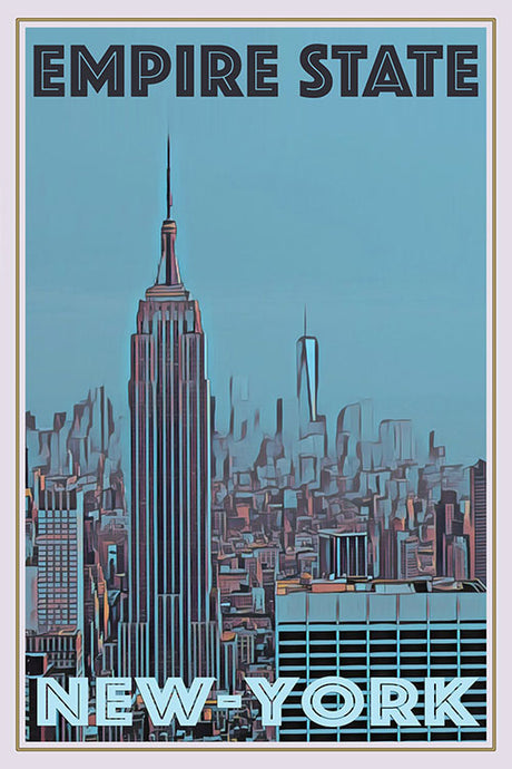 vintage poster of the empire state building in New-York