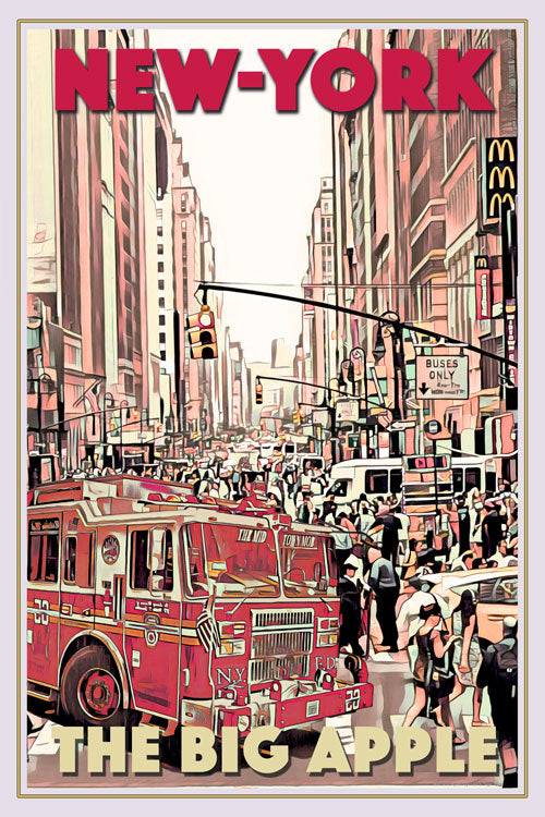 Vintage travel Poster - NY FIRE TRUCK - Affiche retro