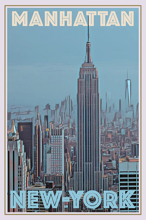 Affiche vintage de Manhattan New-York - Empire State Building