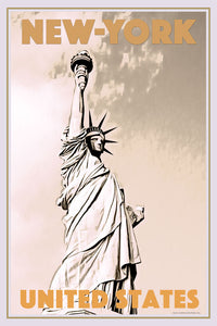 Vintage travel Poster - UNITED STATES LIBERTY - Affiche retro