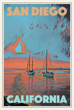 Load image into Gallery viewer, Vintage Travel Poster SUNSET BOATS SAN DIEGO - CALIFORNIA