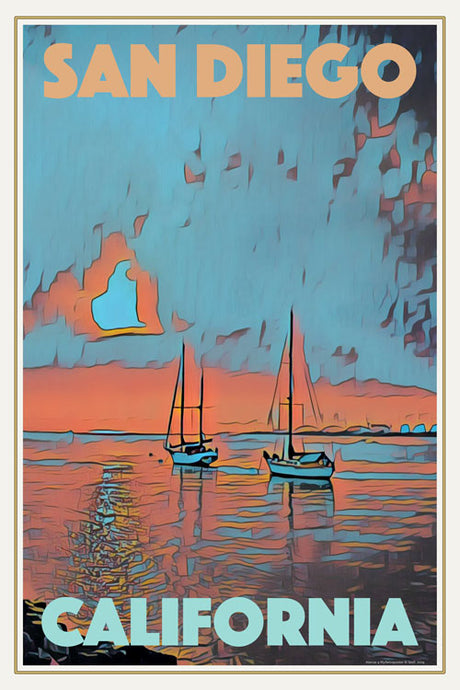 Vintage Travel Poster SUNSET BOATS SAN DIEGO - CALIFORNIA