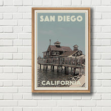 Load image into Gallery viewer, Framed SAN DIEGO PIER CAFE - Vintage travel poster