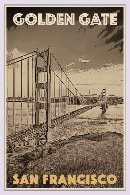 Retro poster - GOLDEN GATE SAN FRANCISCO - affiche vintage