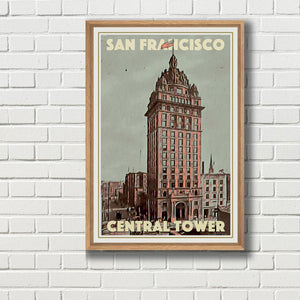 Framed vintage travel poster - CENTRAL TOWER SAN FRANCISCO