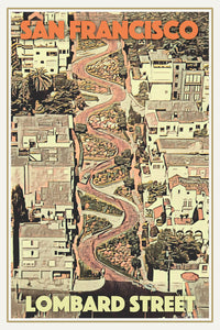 Affiche ancienne de LOMBARD STREET SAN FRANCISCO - California Travel Poster
