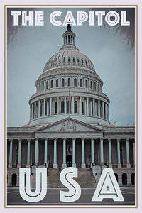 Affiche vintage de la capitale Washington DC USA