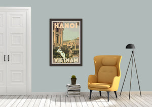 Boho decor with Hanoi Vietnam Vintage Travel Poster