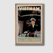 Load image into Gallery viewer, Framed Vintage poster Ha Long Cruises Captain - Retro poster Vietnam