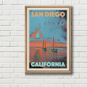 Framed poster of SUNSET BOATS SAN DIEGO - CALIFORNIA