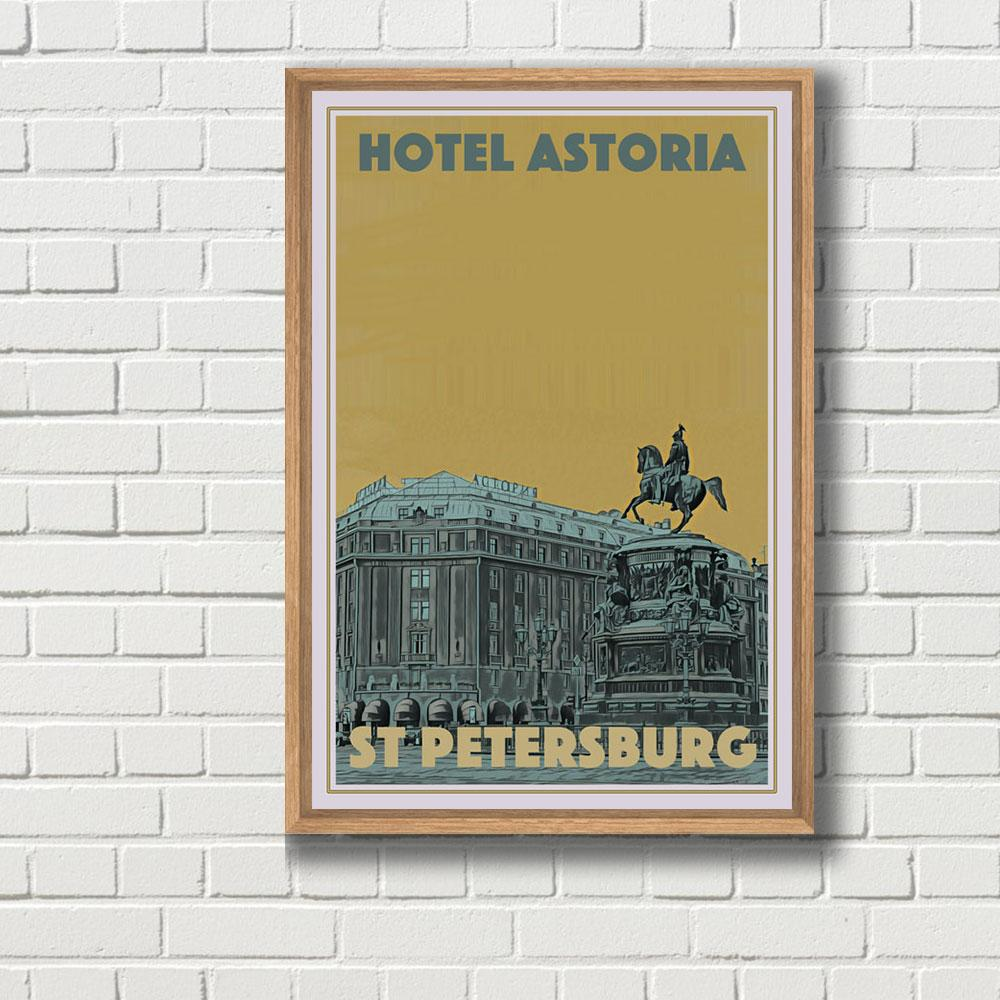 Vintage Travel Poster of Astoria St Petersburgh - Limited Edition