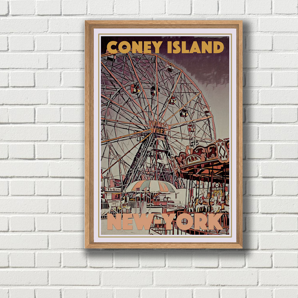 Travel poster Coney island - New-York - Vintage
