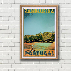 Vintage poster limited edition - Zambujeira - with frame
