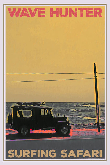 vintage poster surf safari wave hunter jeep