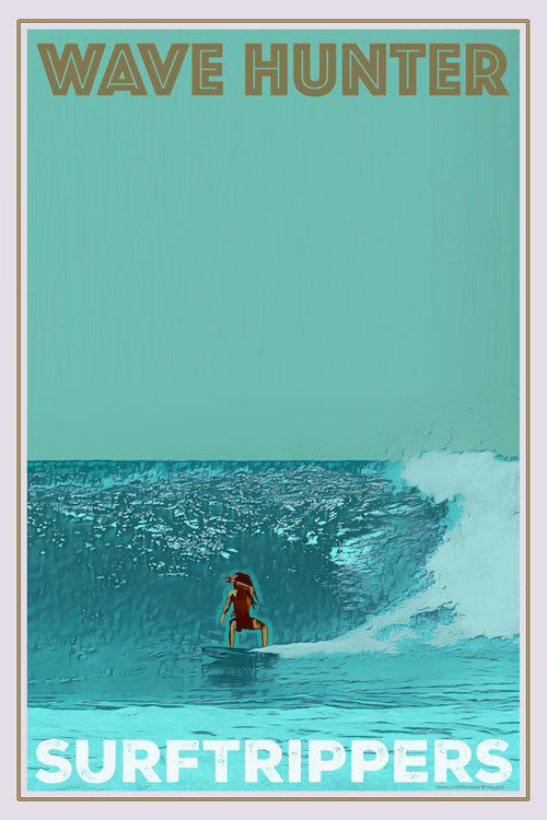 Vintage poster Surf 70 Wave Hunter Surftrip, Buy online, affiche retro