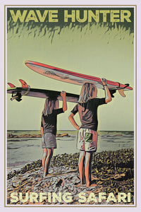 vintage poster wave hunter surfing kids affiche retro