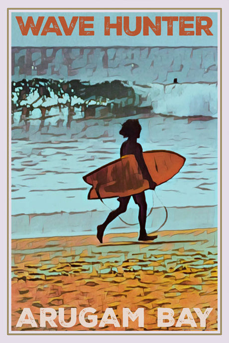 retro poster wave hunter Tili Arugam Bay surfer Tili