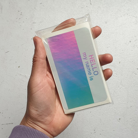 'Hello My Name Is' Holographic Stickers - 50pk