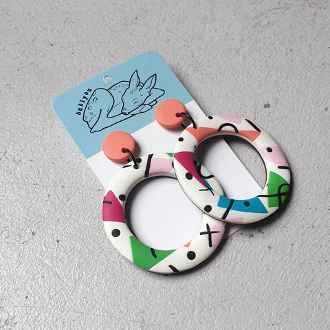 80's Hoop Polymer Clay Earrings