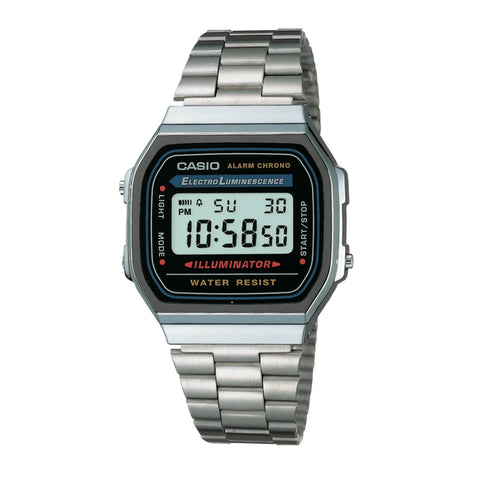 Casio A168WA-1DF Silver Band Unisex
