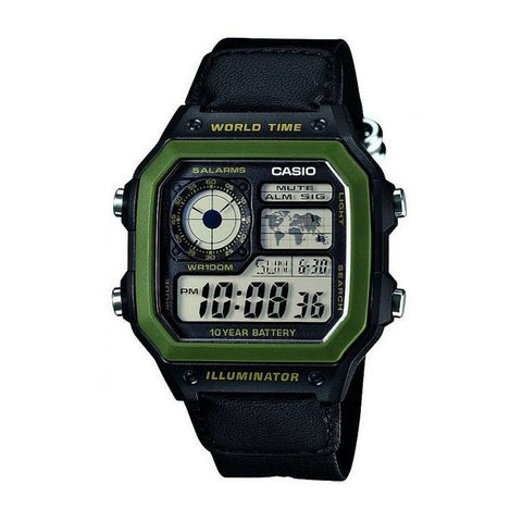 Casio AE-1200WHB-1BVDF Green/Black Band Unisex