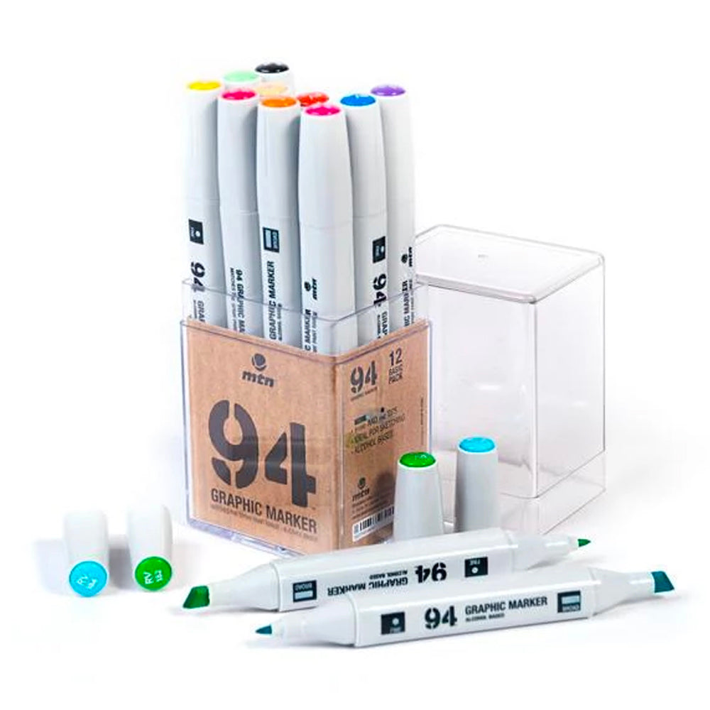 MTN94 Graphic Marker - 12pk Basic Colours