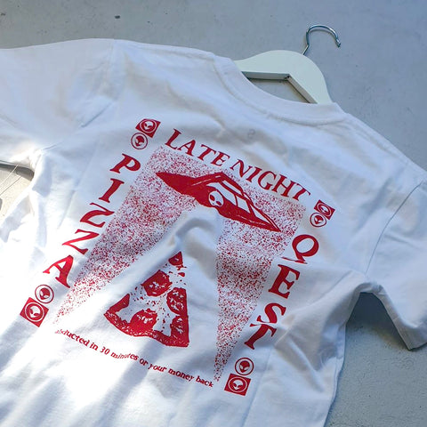 Late Night Pizza Quest Tee (white)
